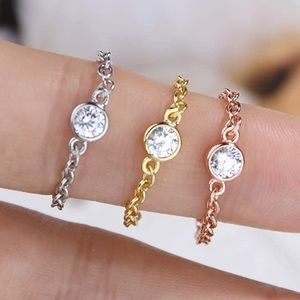 3PC 925 SS ROUND DIAMOND PENDANT CHAIN LINK RINGS